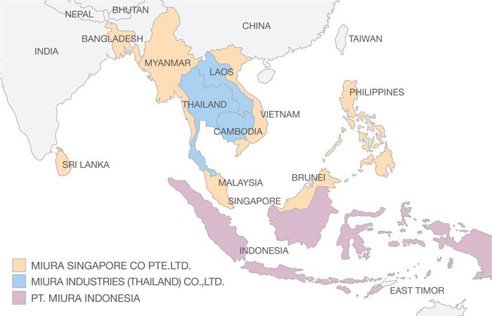 Miura boiler ASEAN map
